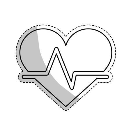 cardio: sticker of cardio heart icon over white background. vector illustration Illustration