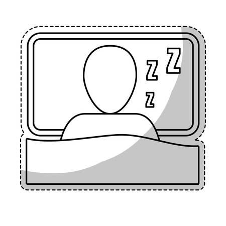 Autocollant d'homme endormi icône sur fond blanc. vue de dessus illustration vectorielle Banque d'images - 66723935