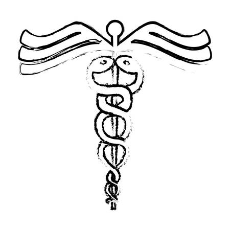 caduceus medical symbol icon over white background. vector illustration