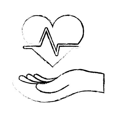 pulsating: hand with cardio heart icon over white background. vector illustration