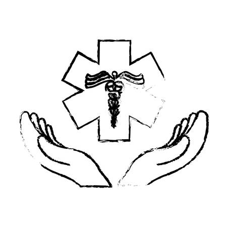 hands with caduceus medical symbol icon over white background. vector illustration