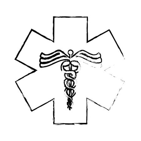 caduceus medical symbol: caduceus medical symbol icon over white background. vector illustration