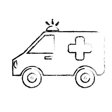 emergency vehicle: ambulance emergency vehicle icon over white background. vector illustration