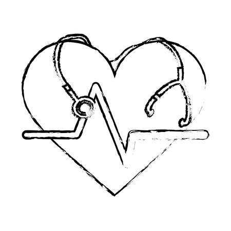cardio: cardio heart with stethoscope icon over white background. vector illustration
