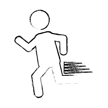 illustraiton: man running icon over white background. pictogram design. vector illustraiton