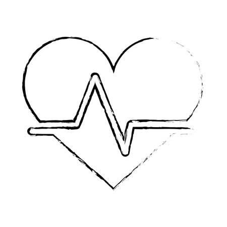 cardio: cardio heart icon over white background. vector illustration
