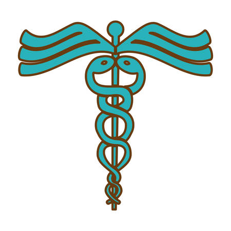 caduceus medical symbol: caduceus medical symbol icon over white background. colorful design. vector illustration