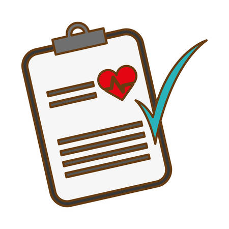 Medical report with cardio heart and check icon over white background. colordul design.vector illustration Illustration