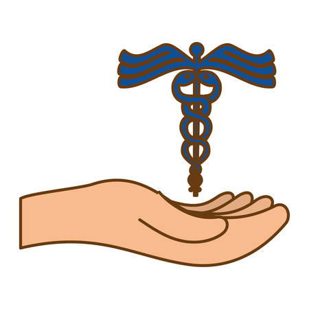 hand with caduceus medical symbol icon over white background. colorful design. vector illustration