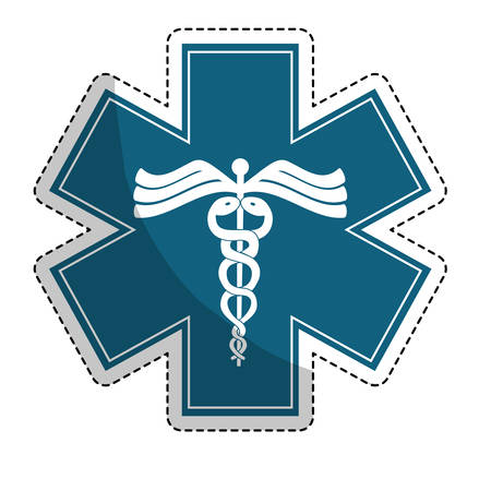 caduceus medical symbol: sticker of caduceus medical symbol icon over white background. colorful design. vector illustration