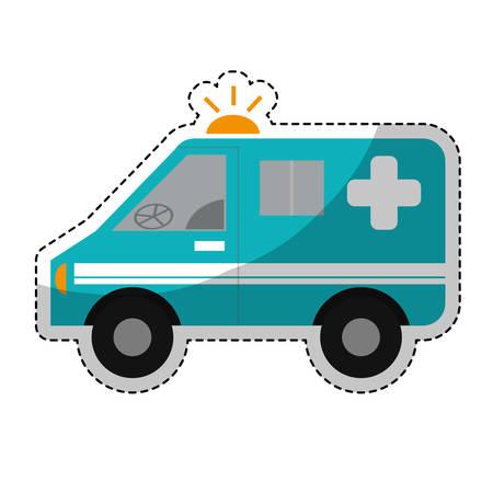 emergency vehicle: sticker of ambulance emergency vehicle icon over white background. colorful design. vector illustration