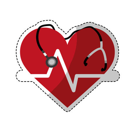 sticker of cardio heart with stethoscope icon over white background. colorful design. vector illustration Illustration