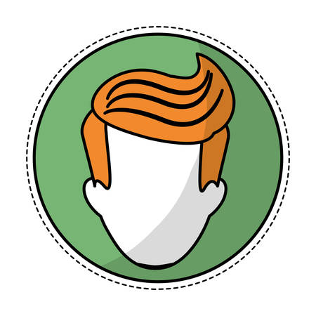 sticker of man face with hipster hairstyle icon inside circle frame over white background. colorful design. vector illustration