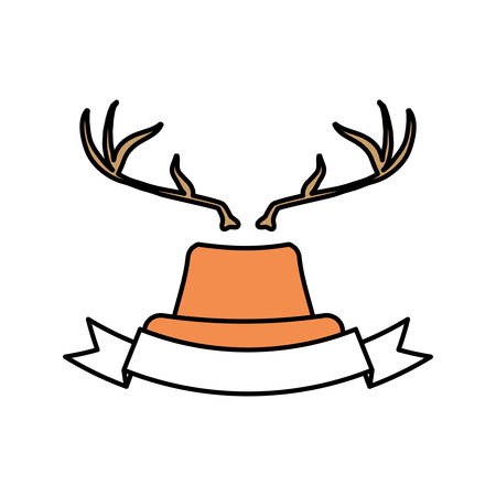 hat with deer horns icon and decorative ribbon over white background. hipster style design. vector illustration