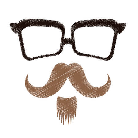hipster man with facial hair and glasses icon image vector illustration design