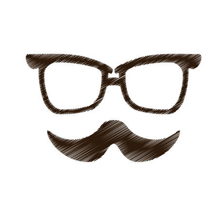 facial hair: hipster man with facial hair and glasses icon image vector illustration design