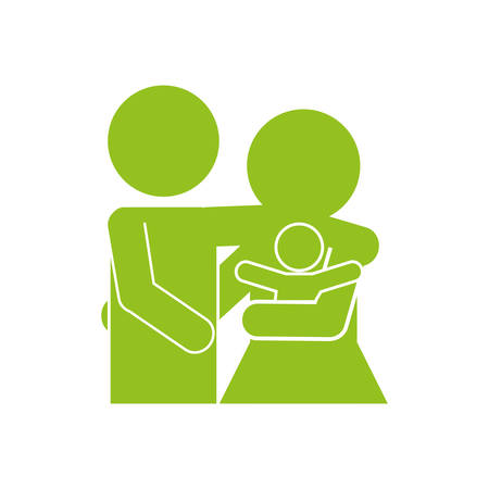new born: happy couple with new born icon over white background. pictogram design. vector illustration