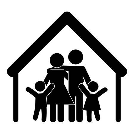forma de la casa con la familia de los padres y el icono de los niños sobre fondo blanco. diseño del pictograma ilustración vectorial