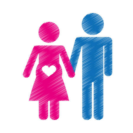 happy couple waiting a baby over white background. colorful and sketch design. vector illustration Illustration