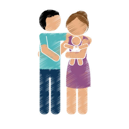 new born: family of parents and new born baby over white background. colorful and sketch design. vector illustration