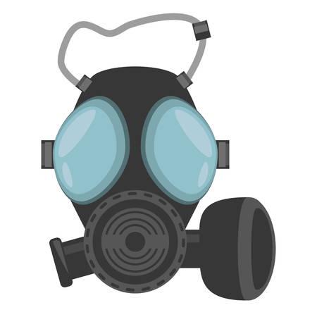 protective gas mask: gas mask respiration protective vector illustration eps 10