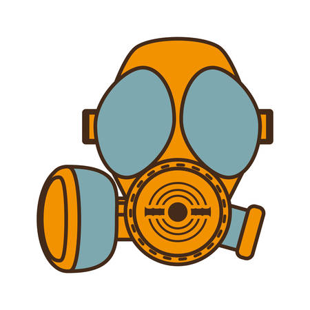 radiation protection suit: cartoon gas mask respiration protective design vector illustration eps 10 Illustration