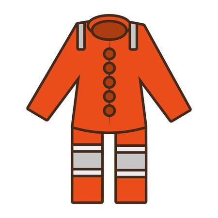 emergency vest: cartoon orange suit overall uniform worker protective design vector illustration eps 10