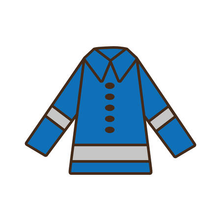 cartoon protective blue jacket reflecting strips design vector illustration eps 10