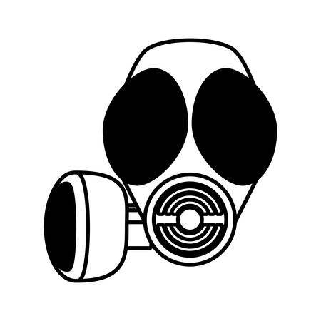 protective gas mask: outline gas mask respiration protective vector illustration eps 10