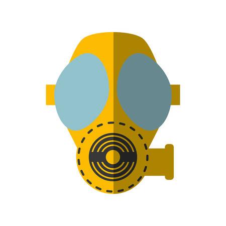 protective gas mask: cartoon gas mask respiration protective shadow vector illustration eps 10