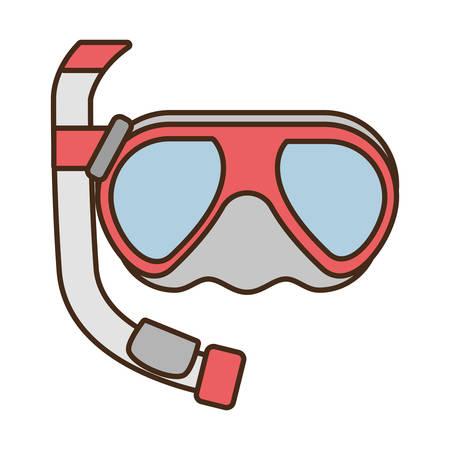 diving mask tube sea beach vector illustration eps 10 Illustration