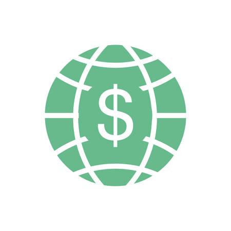 banco mundial: planet with money symbol vector illustration design