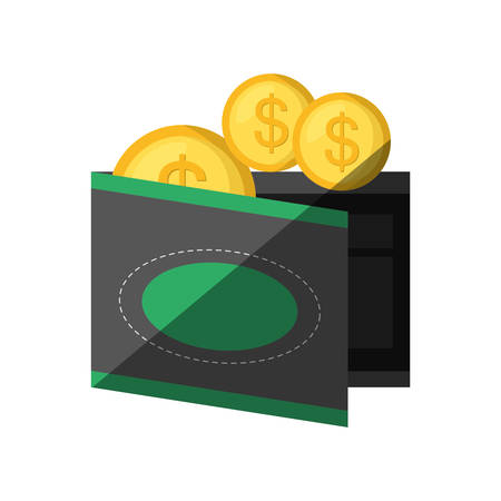 money wallet: money wallet with coins isolated icon vector illustration design Illustration