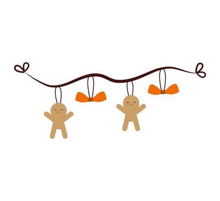 merry christmas decoration hanging vector illustration design