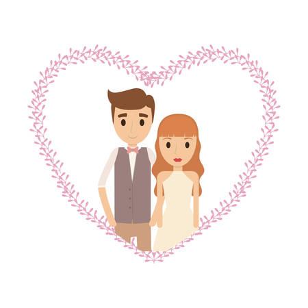 Couple of newlyweds frame decorative vector illustration design Illustration