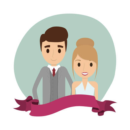 Couple of newlyweds frame decorative vector illustration design