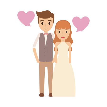 Couple of newlyweds frame decorative vector illustration design Illustration