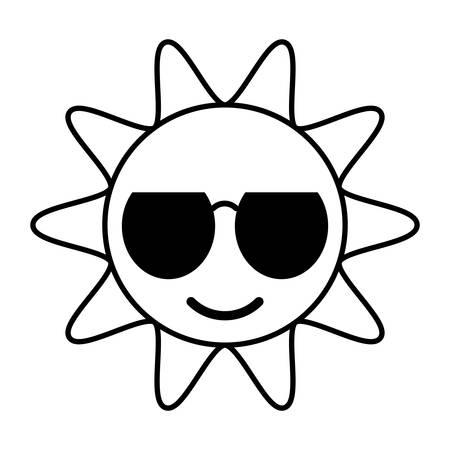 funny glasses: outline sun funny glasses hot vector illustration eps 10 Illustration