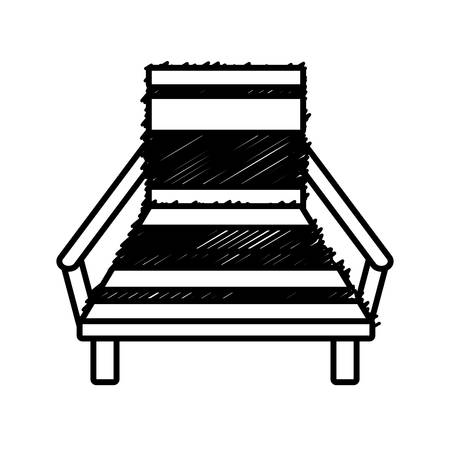 padded stool: outline chair beach relax wooden vector illustration eps 10