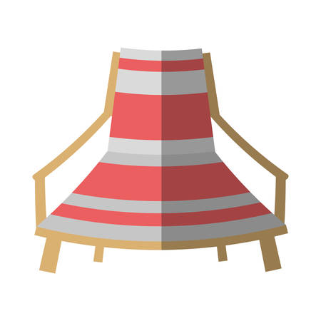 cartoon pink and white chair beach break shadow vector illustration eps 10 Ilustração