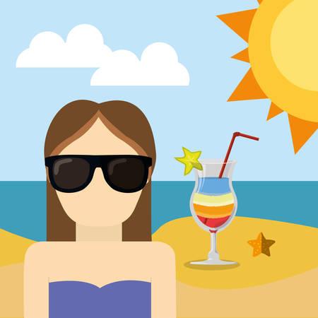 sunglasses beach: character girl with sunglasses beach cocktail sun sea vector illustration eps 10