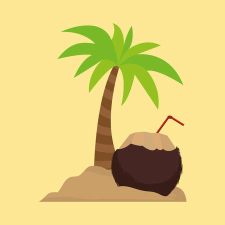 palm tree cocktail coconut sand vector illustration eps 10