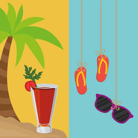 beach palm cocktail and flip flop sunglasses hanging banner vector illustration eps 10 Illustration