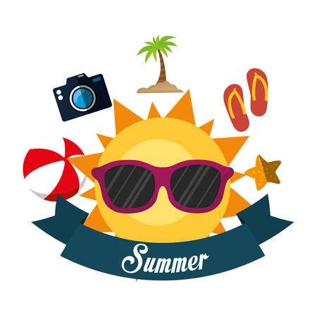poster summer fun sun glasses ball flip flop camera banner vector illustration eps 10 Illustration