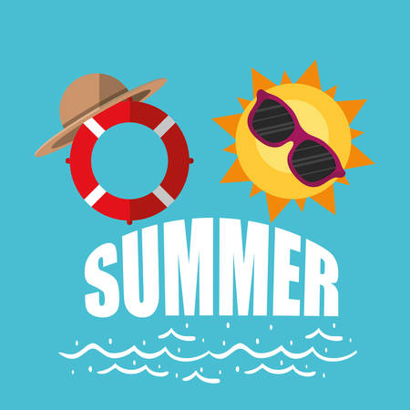 poster summer sunny sunglasses lifebuoy with hat vector illustration eps 10