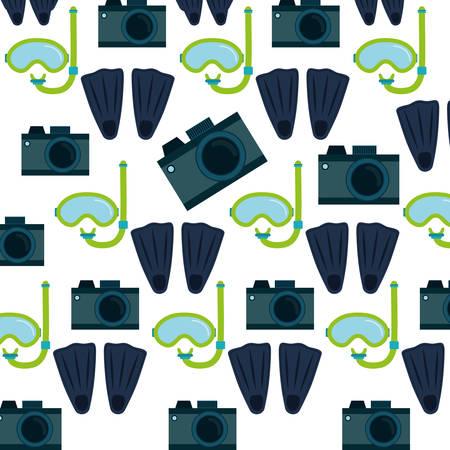 snorkelling: photo camera flippers snorkel mask seamless pattern design vector illustration eps 10 Illustration