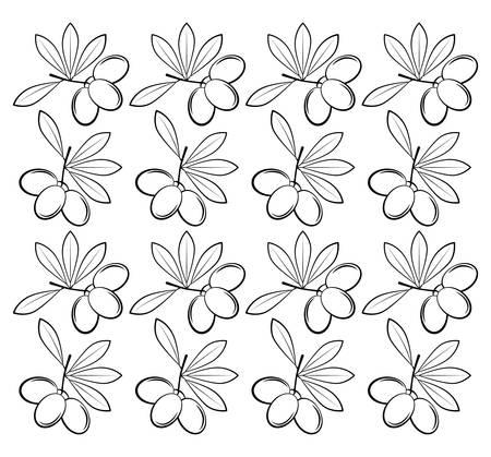 olive leaves: branch olive leaves seamless pattern design vector illustration eps 10