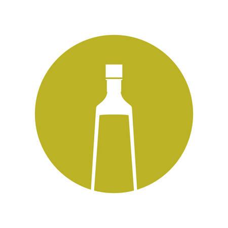 mediterranean diet: silhouette olive bottle diet nutrition green circle vector illustration eps 10