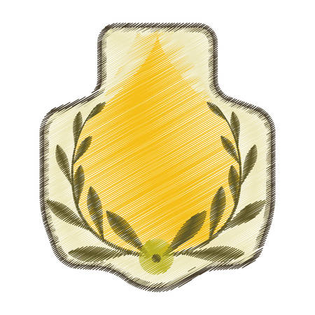 worn paper: drawing stamp with olive branch graphic vector illustration eps 10 Illustration