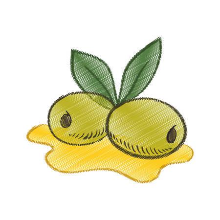 oil spill: drawing olive oil leaf spill vector illustration eps 10
